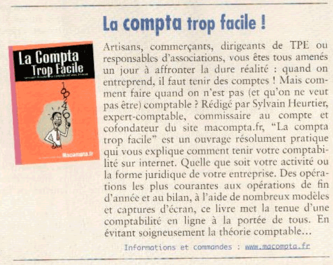 Article CGA Contact - Septembre Octobre 2011 - macompta le livre : La compta, trop facile